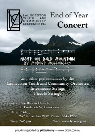 LYCO 2012-11-23 End of Year Concert - Poster - Cradle Mountain