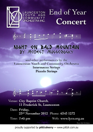 LYCO 2012-11-23 End of Year Concert - Poster - Mount Strzelecki