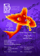 Poster advertising the Launceston Youth and Community Orchestra performing selections from The Firebird by Igor Stravinsky.