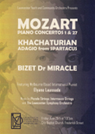 Poster advertising the Launceston Youth and Community Orchestra performing Mozart Piano Concertos 1 and 27, featuring Melbourne Based International Pianist Elyane Laussade.