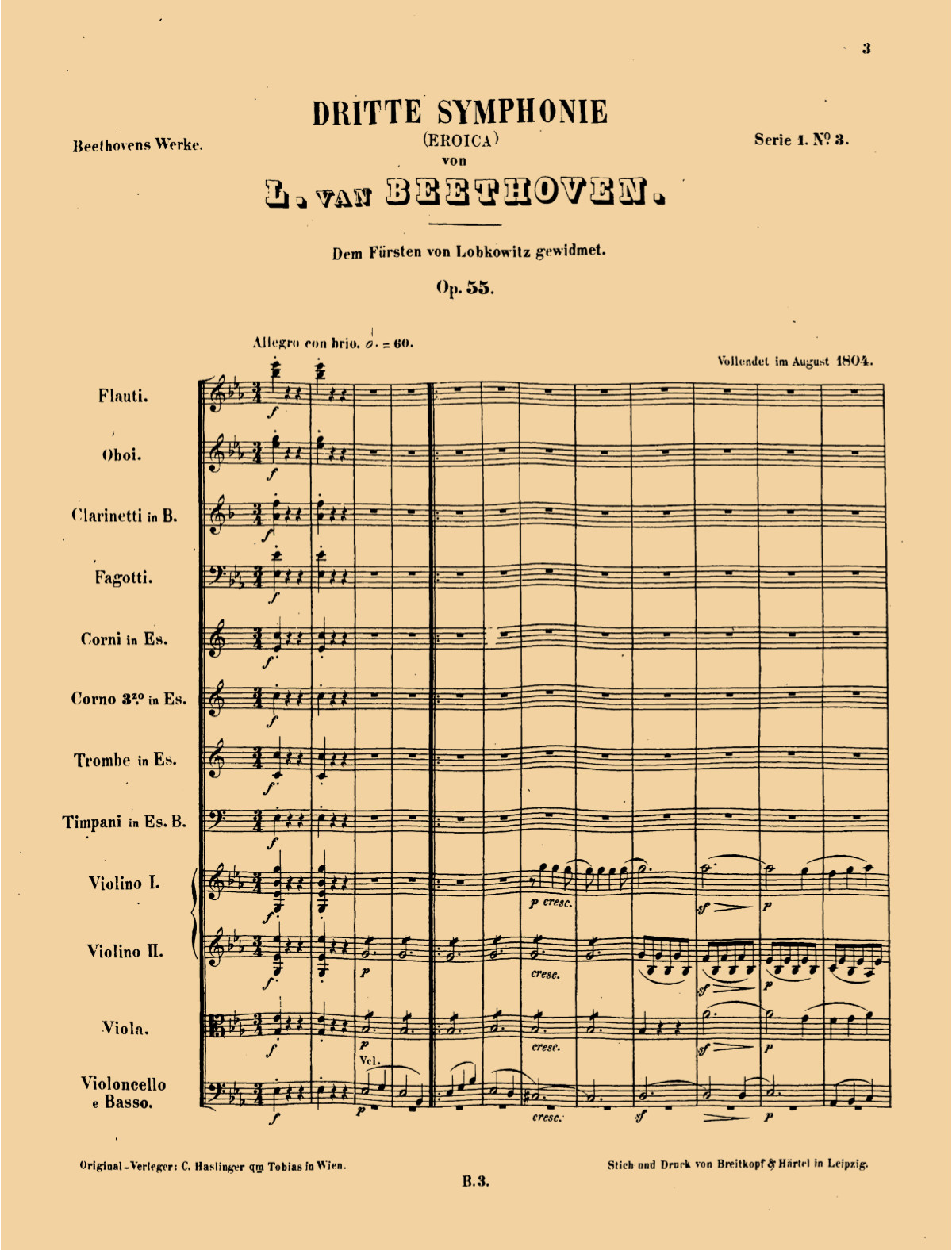 Title page of conductor's score for Beethoven Symphony No. 3