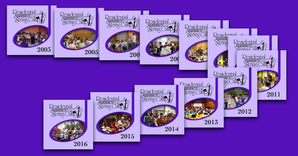 Residential Summer String Camp symbols with years 2003 and then 2005 to 2016.
