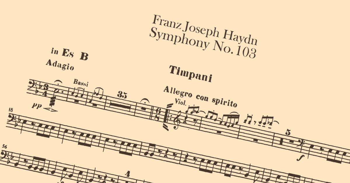 Sheet music showing timpani roll within Haydn's Symphony No. 103.